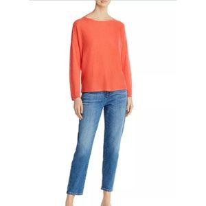 Eileen Fisher Orange Open Knit Linen Sweater